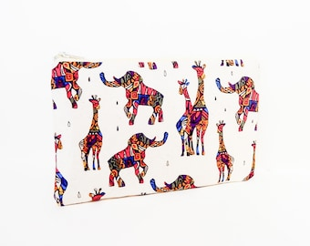 Small Pouch, Small Card Case, Fabric Pouch, Zipper Pouch, Coin Purse, Change Purse, Pouch, Elephant and Giraffe Pouch, Colorful Fabric Pouch