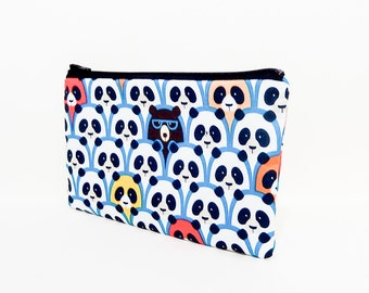Small Pouch, Small Card Case, Fabric Pouch, Zipper Pouch, Coin Purse, Change Purse, Pouch, Panda Bear Pouch, Cute Fabric Pouch, Blue Pouch