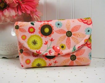 Snap Pouch / Large Snap Pouch / Cosmetic Pouch ... Roots and Wings Floral in Coral