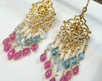 25% OFF Ruby Chandelier Earrings Blue Zircon Gold Chandelier Earrings Wire Wrap Luxury Gemstone Chandelier Earrings Pink Blue Boho Chic Earr