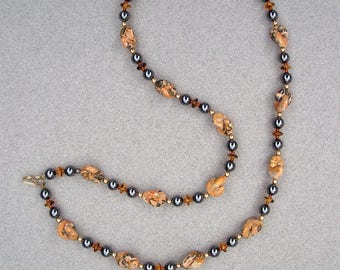 Earthy Landscape Jasper Interlocking Moon Beads with Hematite, Carnelian, and Amber Glass Disks Necklace by Carol Wilson of Je t'adorn