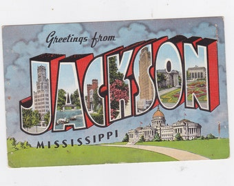 Vintage post card greeting from Jackson Mississippi
