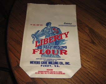 1930s Liberty self-rising 10# paper  flour sack from Weyers cave milling co. Purdy , VA.