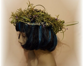 Head wreath adult woman greenery purple grass wildflower forget me not circlet