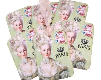 Tags, Marie Antoinette French Gift Tags,Birthday Favor Tags, Paris Tags, Bridal Shower,Tea High Party, French Vintage Ballgown, Australia