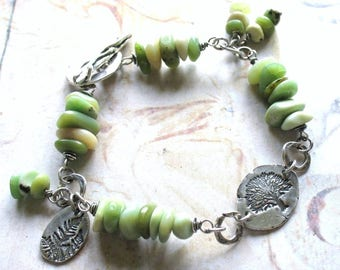 Spring Greens - Handmade Oxidized Sterling Silver and Rare Chunky Chip Variscite Beads, Wire Wrapped Artisan Bracelet with Gift Box