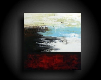 Original Abstract Painting Large Modern Art 30 x 30 Minimalist Red Painting Canvas Wall Art Interior Design Outsider Art