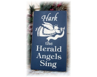 Hark the Herald Angels sing primitive wood Christmas sign