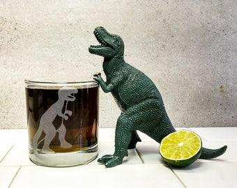 Trex Tyrannosaurus Dinosaur | Etched Engraved Glass | Whiskey Glass | Rocks Glass | Dinosaur Gift | Dinosaur Decor | Science Gift