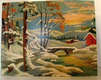Vintage Paint by Number Painting Cabin by River with Stone Bridge Snow Scene PBN 1950s