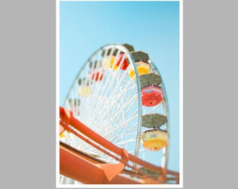 ferris wheel print, amusement park photo, santa monica pier, playroom decor, whimsical nursery decor, blue red yellow, kids bedroom art