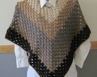 Crocheted Classic Granny Square Poncho - Brown Shades