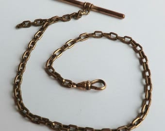 Vintage Watch Chain Rectangular Links Swivel Clasp T-Bar Necklace Chain Steampunk