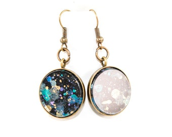 Splatter Painted Dangle Earrings - Acrylic in Round Brass Setting - Black Galaxy Colorway: Black, Gold, Teal