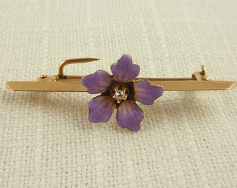 Antique Victorian 14K Gold Floral Brooch with Enamel and Diamond