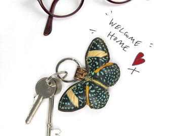 Leather key chain / key ring / bag charm - Speckled Gem Butterfly