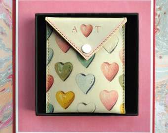 Valentines Heart Gift: Personalised leather Pouch for headphones, coins and treasures - Sweetheart