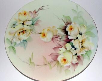 Ester Miler Hand Painted Signed Limoges Porcelain Plate T&V Yellow Roses