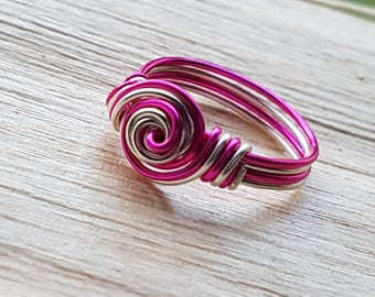 Wire Wrapped Peppermint Twist Ring Custom Sized Silver Plated Copper Wire