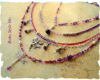 Bohemian Necklace, Boho Layered Fairy Necklace, Hand Knotted Purple Amethyst Necklace, Boho Style Me, Kaye Kraus