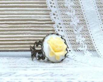 Rose Cameo Ring Yellow Rose Ring Yellow And White Ring Rose Cameo Jewelry Adjustable Ring