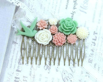 Pink And Green Comb Pink Flower Hair Comb Wedding Flower Comb Bird Comb Green Flower Hair Comb