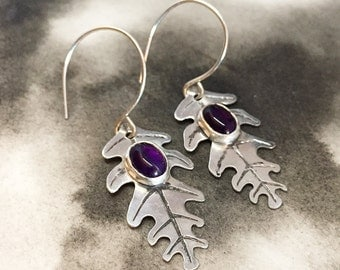 Eik etched sterling silver oak leaf earrings with rich purple amethyst, a perfect gift for bridesmaids and best friends