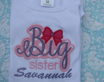 big sister t shirt, little sister shirt,  sibling shirts, baby shower gift, baby announcement, pregnancy announcement, new baby gift