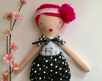 Fabric doll, pink hair doll, pom pom hair doll, girls gift, creative play, cloth doll, pretend play, heirloom doll, handmade doll, pom pom