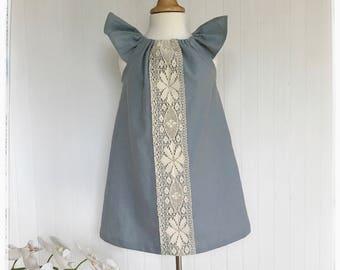 Girls dusty blue linen dress Flutter sleeves boho style toddlers dress Blue - grey linen dress Vintage blue baby linen dress boho blue dress