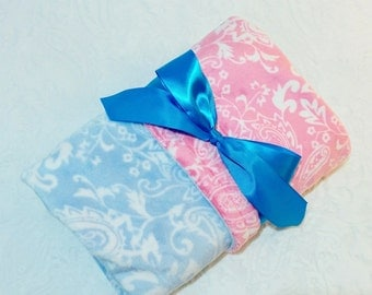 CLEARANCE SALE - NOW just 20 dollars - Ready to Ship - Minky Baby Blanket - Light Blue Paisley with Pink Paisley  Minky - Crib  Size
