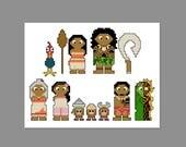 Moana Pixel People Character Cross Stitch PDF PATTERN ONLY