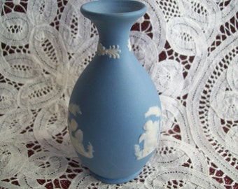 "Reproduction Blue Jasperware Vase 4"" tall"