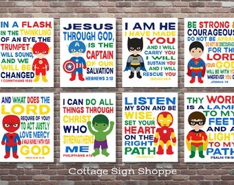 Superhero Scripture Art, Christian Superhero Art, DIGITAL, YOU PRINT, Scripture Superhero Art, Set, Boys Superhero Scripture Art, Superhero