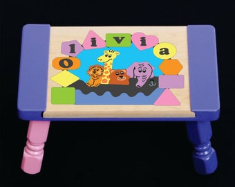 Personalized Name Pastel Puzzle Noah S Ark Animals Giraffe Bear Lion Elephant Stool Preschool Toddler Children