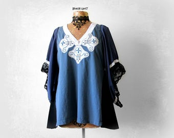 Blue Hippie Tunic Women's Peasant Top Stevie Nicks Style Upcycled Fashion Embroider Boho Shirt Mori Girl Clothes Artsy Blouse L XL 'CHANDRA'