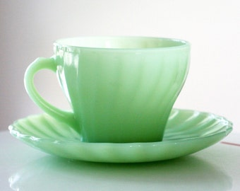 Anchor Hocking Fire King Jadite Jadeite Shell Cup and Saucer