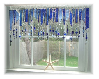 True Blue Number TWO  Stained Glass Window Treatment Valance Kitchen Valance Bathroom Valance Bedroom Valance