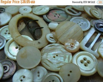 ON SALE 50 Antique Abalone Carved Shell Buttons Mother of Pearl Large Iridescent Cut Shell Mixed Buckle and Button Lot 17