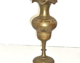 WWII Era Brass Vase - India Brass Vase - Indian Brass Candle Holder