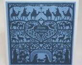 Christmas Nativity Folk Art Heart Card