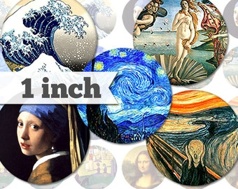 Paintings - 7 Unique Images - 1 Inch Circles - Digital Collage Sheet - Jewelry Supply, Cabochon, Bottle Caps - INSTANT DOWNLOAD