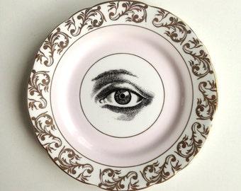 Vintage Lovers Eye Plate Altered Art illuminati memento mori