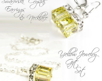 Citrine Swarovski Crystal Jewelry Set, Yellow Cube Necklace Earrings, Sterling Silver, Spring Wedding Bridesmaid Gift, Bridal Party Favor
