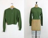 50s Sweater Cashmere Cardigan Small / 1950s Vintage Sweater Braemer / Peck & Peck Cardigan