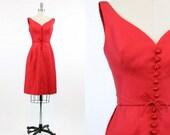 60s Dress XXS / 1960s Dress Cotton Linen Cocktail / Sun Porch Dress