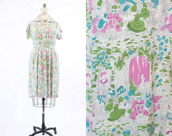 40s Dress Novelty Print XL Plus / 1940 Vintage Dress Silk / Forever Young Dress