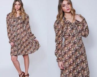 Vintage 90s DITZY Floral Dress GRUNGE Floral Dress 90s Mini Dress Floral Hipster Dress