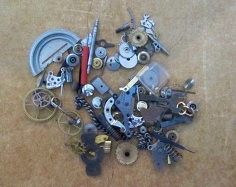 Vintage WATCH PARTS gears - Steampunk parts - x23 - Listing is for all the watch parts seen in photos
