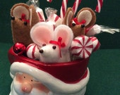 Santa Cup full of Mice and Candy